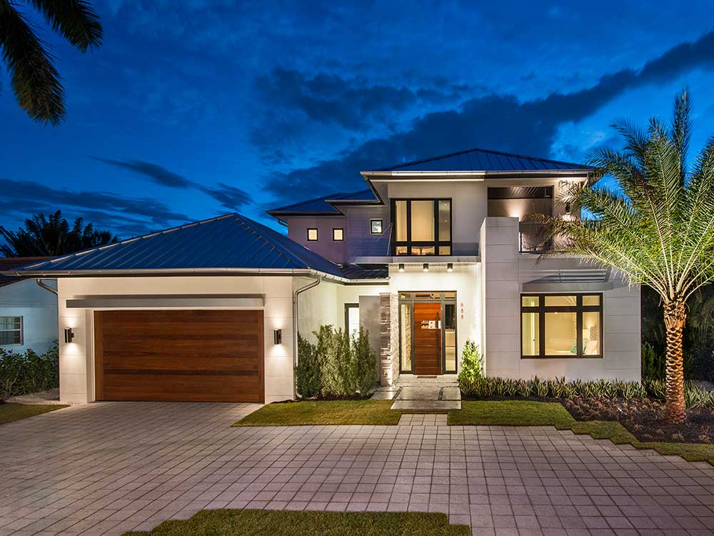 Exterior of modern home design in naples FL